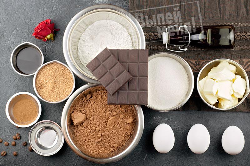 ингредиенты кофейного брауни с ликером