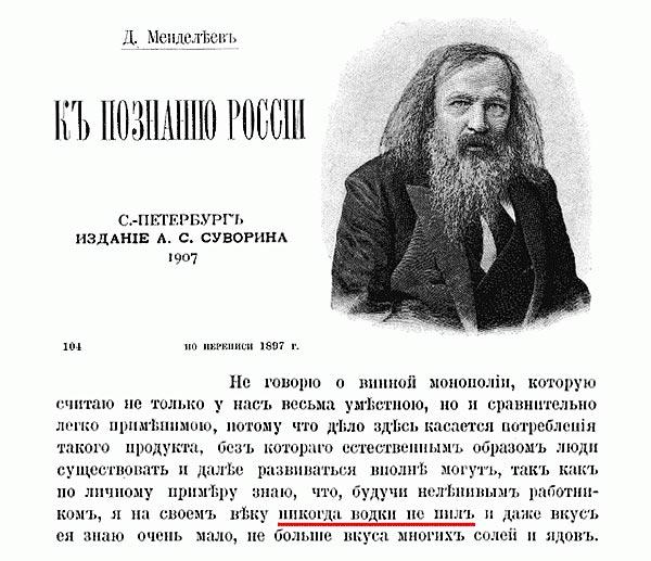 Изобретал ли Менделеев водку
