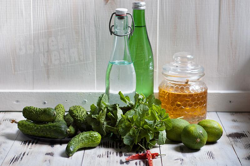 ингредиенты для приготовления мохито с огурцами