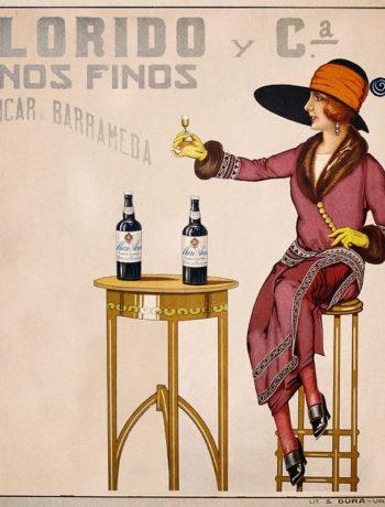 вино, старый плакат