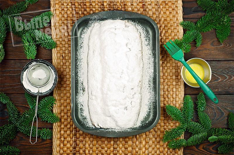 рецепт рождественского хлеба штоллен, готовый хлеб