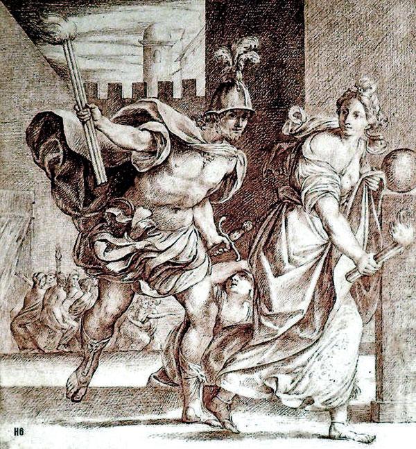 Александр Македонский и Таис Афинская поджигают Персеполь